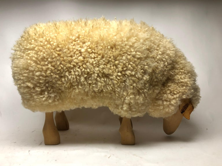 Vintage Carved Wood Sheep In Distressed Condition For Sale In East Hampton, NY