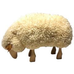 Vintage Carved Wood Sheep
