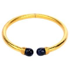 Vintage Lalaounis Sodalite 22 Karat Gold Textured Collar Necklace