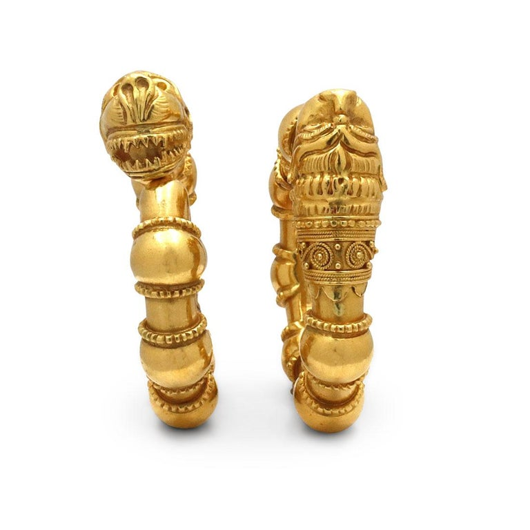 Women's or Men's Vintage Lalaounis Yellow Gold Earrings For Sale