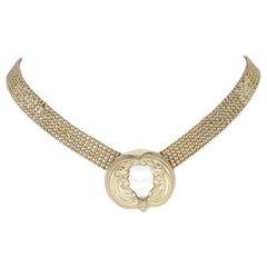 Vintage Lalique Gold Vermil Art Deco Masque De Femme Crystal Pendant Necklace