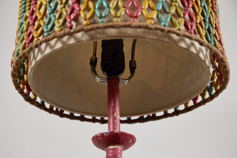 Hand-Painted Vintage Lamp with Beaded Shade For Sale