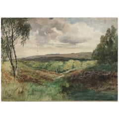 Vintage Landscape Watercolor on Artist Panel of Hillside by Fred Hines, 20th C