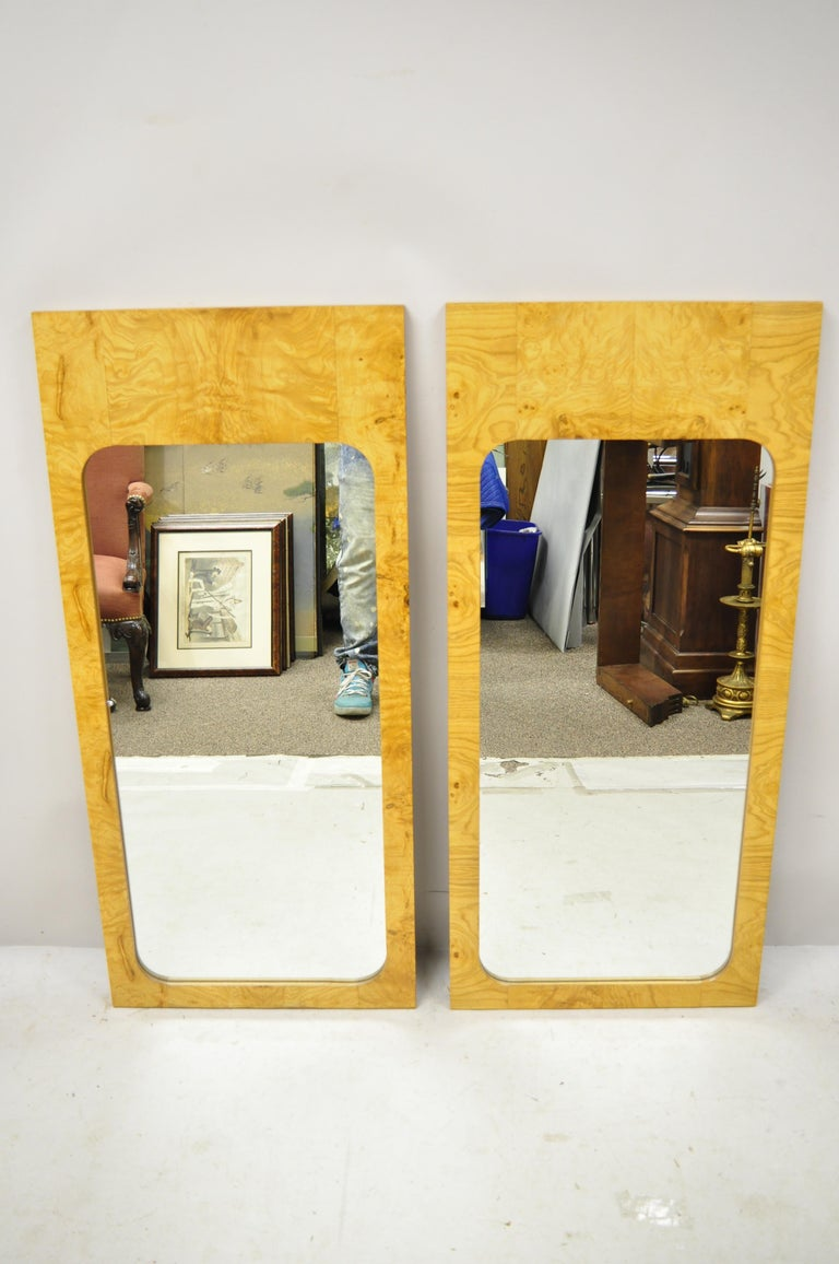Vintage Lane Mid-Century Modern Art Deco Burl Wood Rectangular Mirrors, a Pair For Sale 5