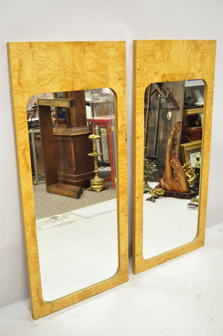 Vintage Lane midcentury Art Deco burl wood rectangular wall mirrors - a pair. Item features beautiful wood grain, clean modernist lines, quality American craftsmanship. Hanging hardware needed for rear, circa mid-20th century. Measurements: 47