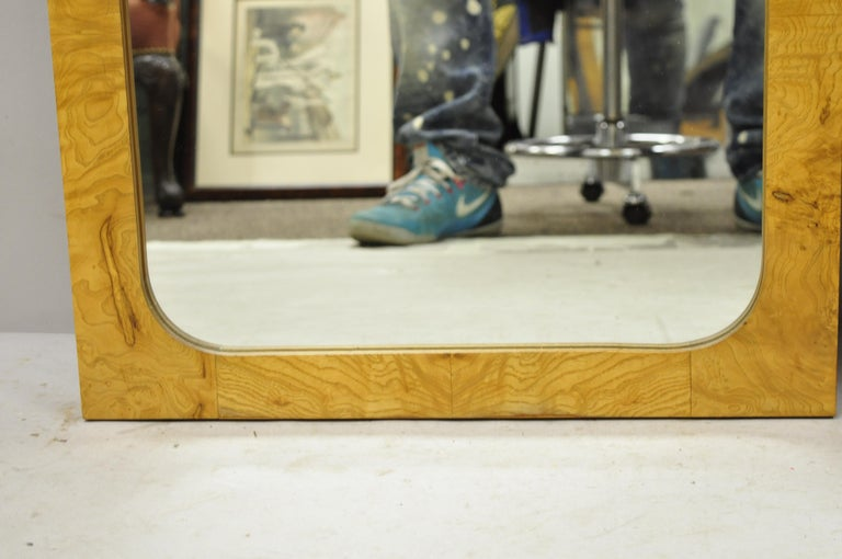 Vintage Lane Mid-Century Modern Art Deco Burl Wood Rectangular Mirrors, a Pair For Sale 2