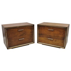 Vintage Lane Mid-Century Modern Walnut Chrome Trim 2-Drawer Nightstands, a Pair