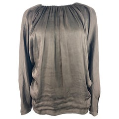 Vintage LANVIN Collection Brown Silk Top Blouse