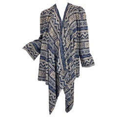 Vintage Lanvin Haute Couture Aztec Navy Blue Indigo Wool Challis Wrap Cardigan