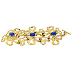 Vintage Lanvin Lapis Lazuli Irregular Wide Bracelet
