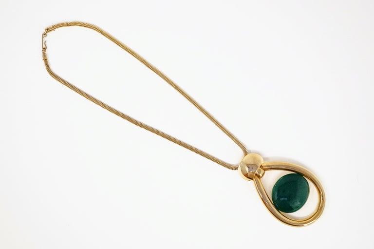 Modern Vintage Lanvin Mod Green Lucite & Gilt Statement Necklace, Signed, 1970s For Sale