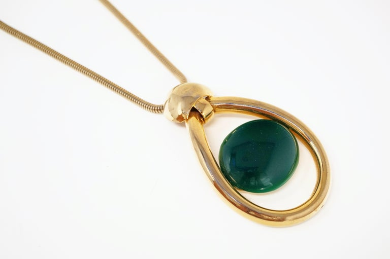 Vintage Lanvin Mod Green Lucite & Gilt Statement Necklace, Signed, 1970s In Good Condition For Sale In Los Angeles, CA
