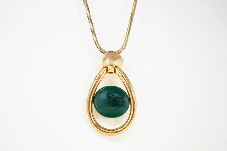 Vintage Lanvin Mod Green Lucite & Gilt Statement Necklace, Signed, 1970s For Sale 2