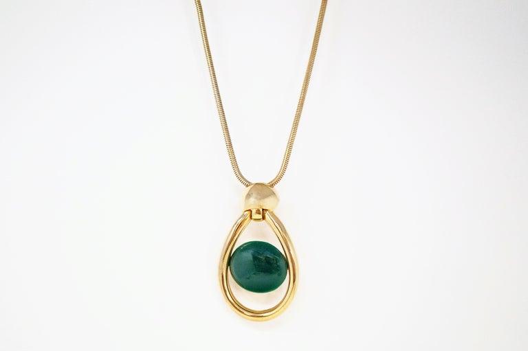Vintage Lanvin Mod Green Lucite & Gilt Statement Necklace, Signed, 1970s For Sale 3