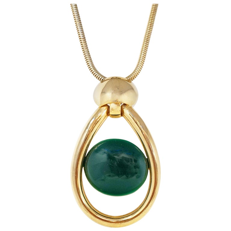 Vintage Lanvin Mod Green Lucite & Gilt Statement Necklace, Signed, 1970s For Sale