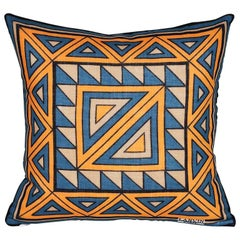 Vintage Lanvin Orange and Blue Geometric Scarf with Irish Linen Cushion Pillow