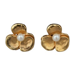 Vintage LANVIN PARIS Flower Pearl Earrings