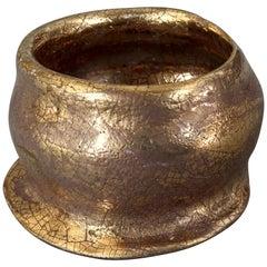 Vintage LANVIN PARIS Structural Bronze Gold Porcelain Bracelet Cuff