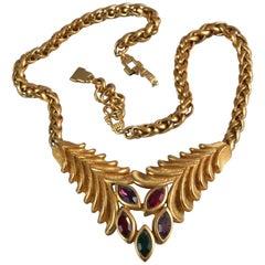 Vintage LANVIN Rhinestone Leaves Necklace