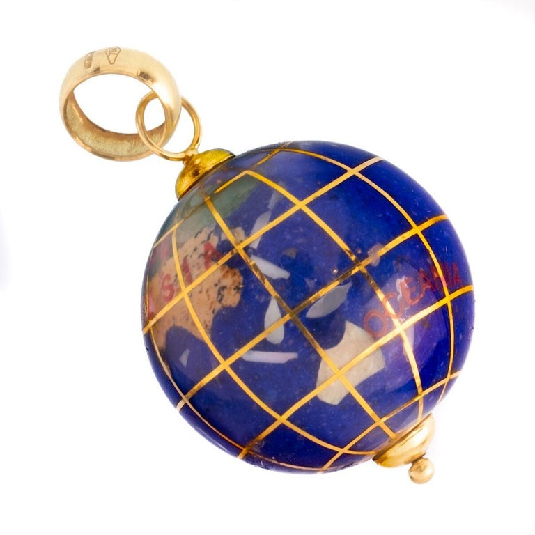 Vintage Lapis and 18 Karat Yellow Gold Globe Charm c.1980s