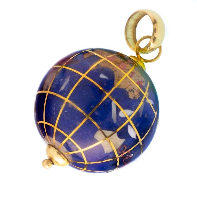 Modern Vintage Lapis and 18 Karat Yellow Gold Globe Charm For Sale