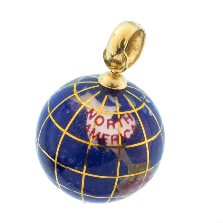 Women's or Men's Vintage Lapis and 18 Karat Yellow Gold Globe Charm For Sale