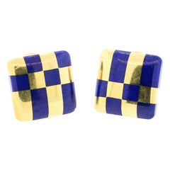 Angela Cummings for Tiffany & Co. Lapis and 18k Gold Checker Earrings