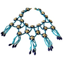 Vintage Lapis and Turquoise Trellis Statement Necklace