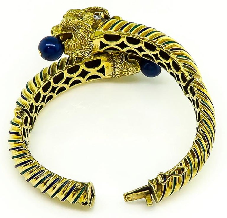 Vintage Lapis Diamond Ruby Enamel Gold Bangle In Good Condition For Sale In New York, NY