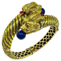 Vintage Lapis Diamond Ruby Enamel Gold Bangle