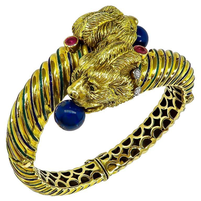 Vintage Lapis Diamond Ruby Enamel Gold Bangle For Sale