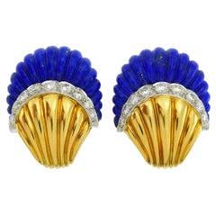 Vintage Lapis Lazuli 18k Gold Earrings