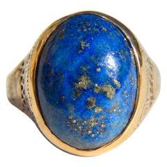 Vintage Lapis Lazuli 9.32 Carat Cabochon Egyptian Revival 14 Karat Gold Ring