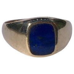Vintage Lapis Lazuli an 9 Carat Gold Signet Ring
