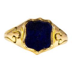 Vintage Lapis Lazuli and 15 Carat Gold Signet Ring