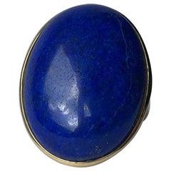 Vintage Lapis Lazuli and 9 Carat Gold Cocktail Ring