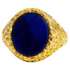 Vintage Lapis Lazuli and 9 Carat Gold Signet Ring
