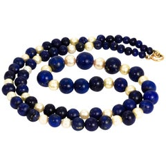 Vintage Lapis Lazuli and Pearl Beaded Necklace