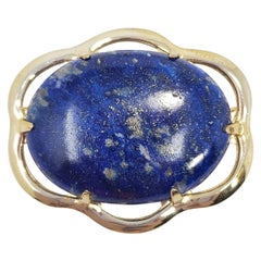 Vintage Lapis Lazuli Cabochon Pin Brooch in Gold-Filled Setting, Mid Late 1900s