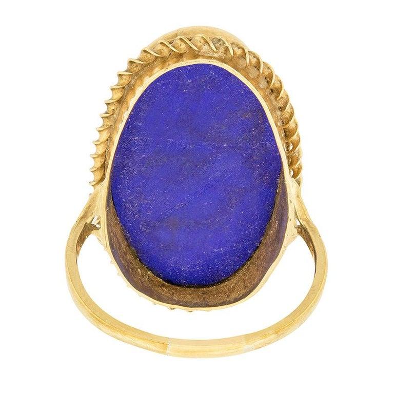 Women's or Men's Vintage Lapis Lazuli Cocktail Ring, circa 1950s For Sale