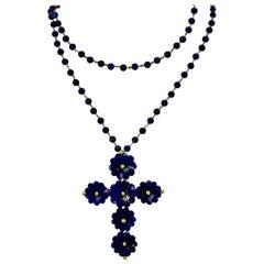 Vintage Lapis Lazuli Flower Cross Pendant Brooch 18 Karat Gold Bead Necklace