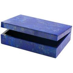 Vintage Lapis Lazuli Precious Stone Casket Box