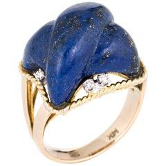 Vintage Lapis Lazuli Ring Fluted Cross 14 Karat Gold Estate Square Jewelry