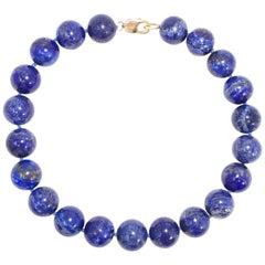 Vintage Lapis Lazuli Round Bead 585 or 14 Karat Choker Necklace