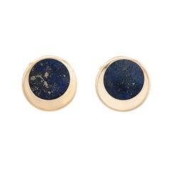 Vintage Lapis Lazuli Round Stud Earrings 14 Karat Gold Estate Fine Jewelry