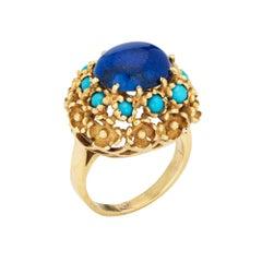 Vintage Lapis Lazuli Turquoise Ring La Triomphe 18k Yellow Gold Flower Jewelry