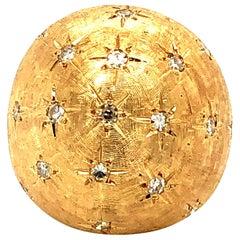 Vintage Large 14 Karat Gold Dome Ring Adorned with Diamonds, circa 1960-1970