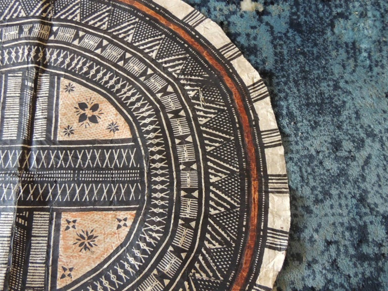 Vintage large African tribal round decorative Art