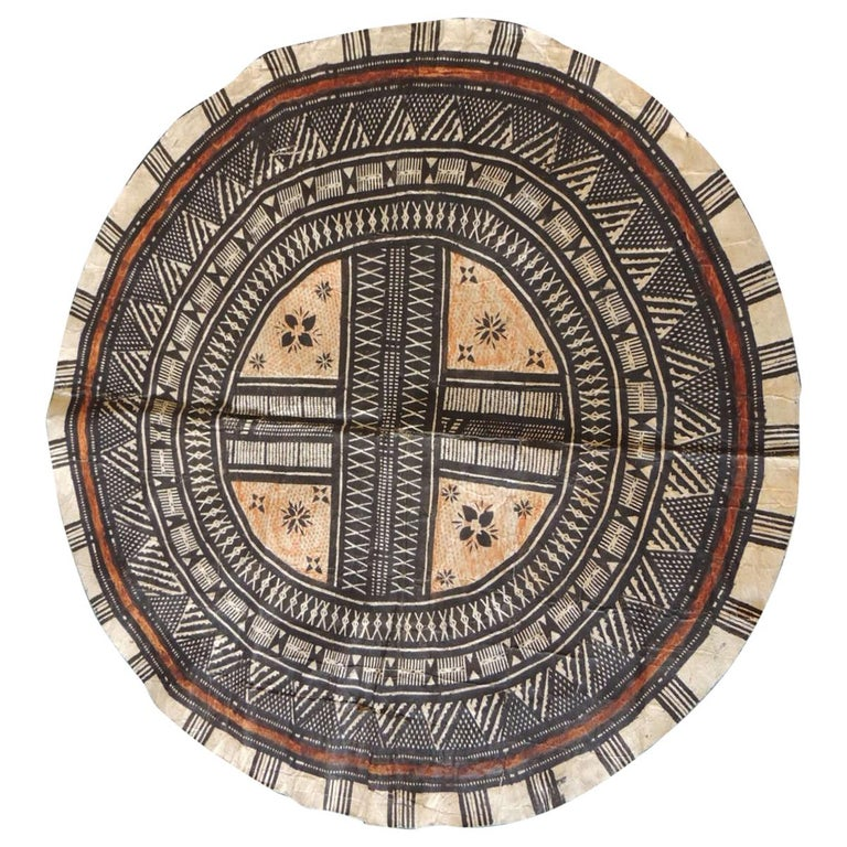 Vintage Large African Tribal Round Decorative Art For Sale