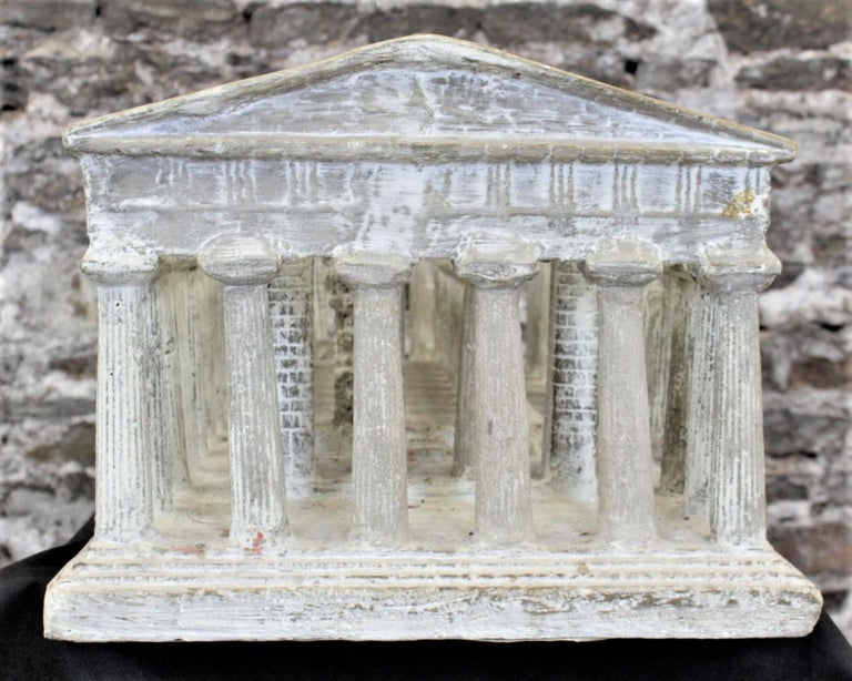 Cold-Painted Vintage Large Ancient Greek Temple Ruins Architectural Model or Sculpture For Sale